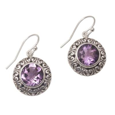 Amethyst dangle earrings, 'Swirling Dew' - Amethyst and Sterling Silver Dangle Earrings from Bali