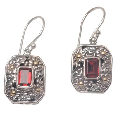 Gold accented garnet dangle earrings, 'Daisy Queen' - Gold Accent Floral Garnet Dangle Earrings from Bali