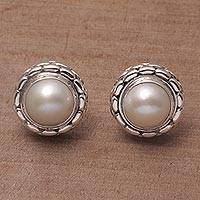Cultured pearl button earrings, 'Moonlight Pebbles' - Cultured Pearl and Sterling Silver Button Earrings from Bali