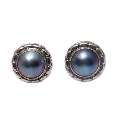 Cultured pearl button earrings, 'Eclipse Pebbles' - Cultured Pearl and 925 Silver Button Earrings from Bali