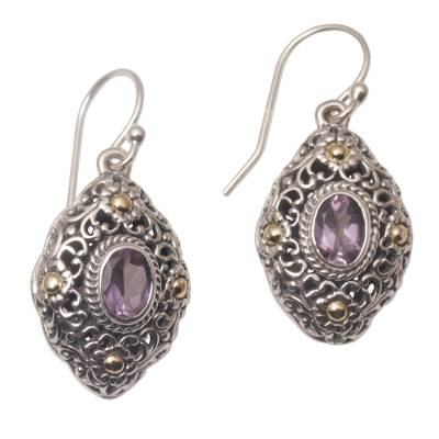 Gold accent amethyst dangle earrings, 'Floral Dew' - Gold Accent Amethyst Floral Dangle Earrings from Bali