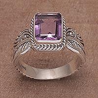 Amethyst single stone ring, 'Razorleaf' - Amethyst Leaf-Themed Single Stone Ring from Bali