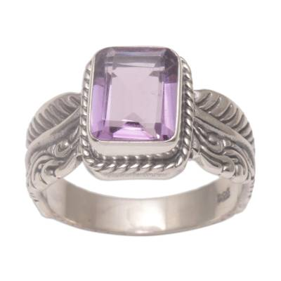 Amethyst single stone ring, 'Razorleaf' - Amethyst Leaf-Themed Single Stone Ring from Bali