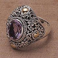 Gold-accented amethyst cocktail ring, 'Floral Mystique' - Gold-accented Amethyst Floral Cocktail Ring from Bali