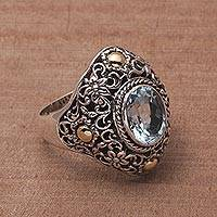 Featured review for Gold accented blue topaz cocktail ring, Floral Mystique