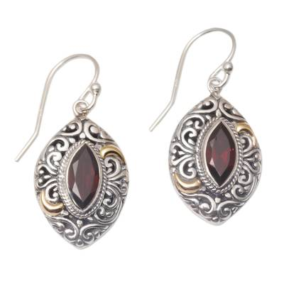 Gold accent garnet dangle earrings, 'Defiant Beauty' - Gold Accent Garnet Swirl Motif Dangle Earrings from Bali