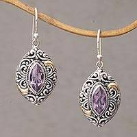 Gold accent amethyst dangle earrings, 'Defiant Beauty' - Gold Accent Amethyst Swirl Motif Dangle Earrings from Bali