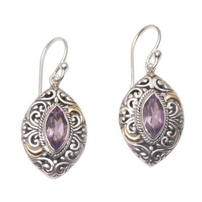 Gold accent amethyst dangle earrings, 'Defiant Beauty' - Gold Accent Amethyst Swirl Motif Dangle Earrings from Bali