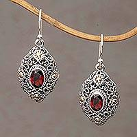 Gold accent garnet dangle earrings, 'Floral Dew' - Gold Accent Garnet Floral Dangle Earrings from Bali