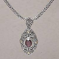 Gold accented garnet pendant necklace, 'Floral Dew' - Gold Accented Garnet Floral Pendant Necklace from Bali