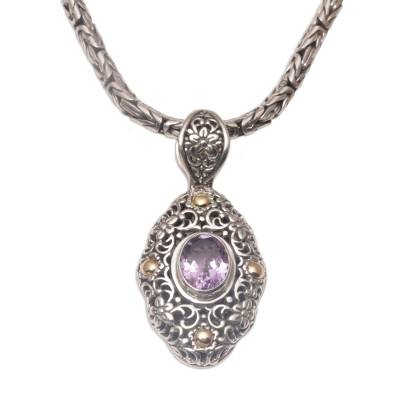 Gold accented amethyst pendant necklace, 'Floral Dew' - Gold Accented Blue Topaz Floral Dangle Earrings from Bali