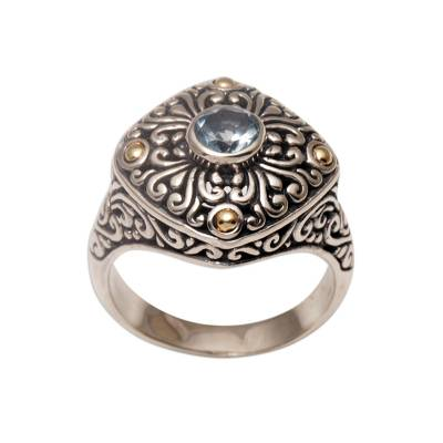 Gold Accent Blue Topaz Swirl Motif Cocktail Ring from Bali