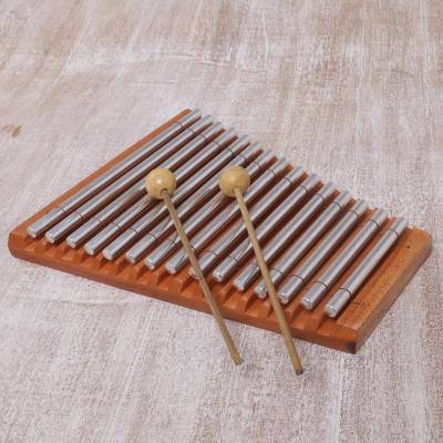 Teakwood and stainless steel xylophone, 'Chiming Joy' - Balinese Handmade Teakwood and Stainless Steel Xylophone