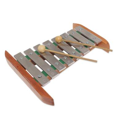 Teak wood and stainless steel xylophone, 'Balinese Tune' - Handmade Teak Wood and Stainless Steel Xylophone from Bali