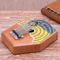 Teakwood kalimba thumb piano, 'Hibiscus Melody' - Handcrafted Floral Teakwood Kalimba Thumb Piano from Bali