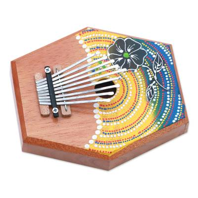 Teakwood kalimba thumb piano, 'Hibiscus Melody' - Handcrafted Floral Teakwood Kalimba Thumb Piano from Bali