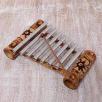 Bamboo xylophone, 'Peaceful Tune' - Handcrafted Floral Bamboo Xylophone from Bali