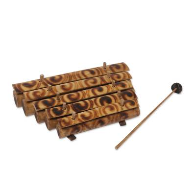 Bamboo xylophone, 'Swirling Melody' - Swirl Motif Bamboo Xylophone with Mallet from Bali
