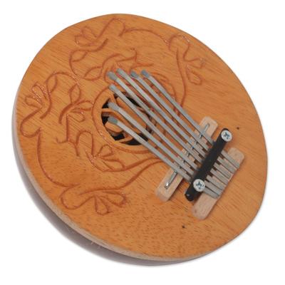 Coconut shell kalimba thumb piano, 'Gecko Melody' - Handcrafted Coconut Shell Kalimba Thumb Piano from Bali