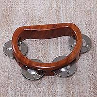 Teakwood tambourine, 'Funky Vibes' - Artisan Crafted Handled Teakwood Tambourine from Bali