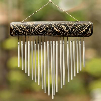 Bamboo and aluminum wind chimes, 'Melodic Dance' - Handcrafted Bamboo and Aluminum Wind Chimes from Bali