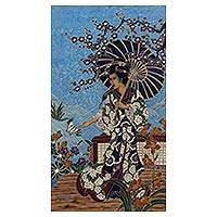 Batik painting, 'Dewi Kemakmuran' - Signed Batik Goddess Painting on Cotton Canvas from Bali