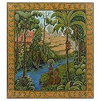 Batik painting, 'Pemandangan Alam di Bali' - Signed Balinese Village Batik Painting on Cotton Canvas