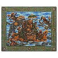 Batik painting, 'Rama and Shinta' - Signed Hindu Epic Batik Painting on Cotton Canvas from Bali