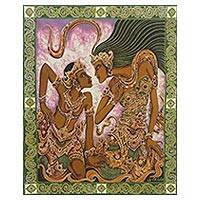 Batik painting, 'Dua Sejoli' - Signed Batik Lovers Painting on Cotton Canvas from Bali