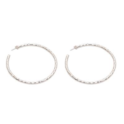Sterling silver half-hoop earrings, 'Glimmering Memories' - Sterling Silver Hammered Motif Half-Hoop Earrings from Bali