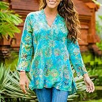 Rayon batik tunic, 'Daisy Paradise' - Handmade Blue and Green Floral Rayon Batik Tunic