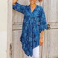 Rayon batik caftan, 'Blue Daisy Paradise' - Rayon Batik Asymmetrical Blue Floral Caftan from Bali