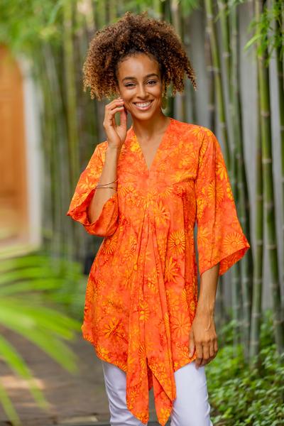 Rayon caftan, 'Daisy Cheer' - Handmade Orange Floral Batik Rayon Caftan from Indonesia