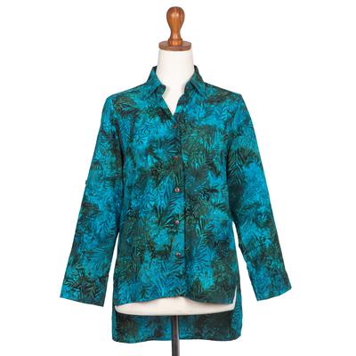Batik rayon hi-low blouse, 'Java Emerald' - Rayon Batik Long Sleeve Teal Hi-Low Button Shirt