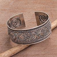 Sterling silver cuff bracelet, 'Merajan Majesty' - Sterling Silver Openwork Cuff Bracelet from Bali