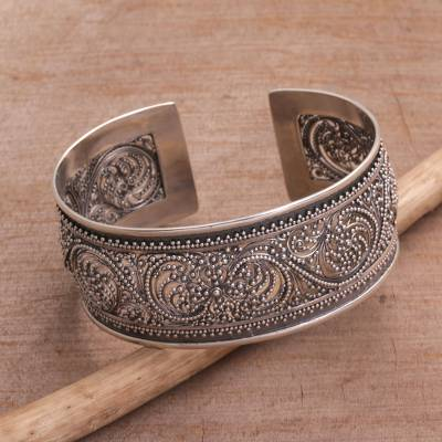 Sterling Silver Cuff Bracelet Merajan Majesty Openwork From