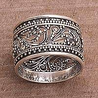 Sterling silver band ring, 'Merajan Majesty' - Sterling Silver Openwork Band Ring from Bali