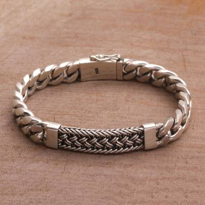 Mens sterling silver wristband bracelet, Braided Belt