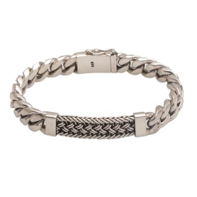 Men's sterling silver wristband bracelet, 'Braided Belt' - Sterling Silver Braided Wristband Bracelet from Bali