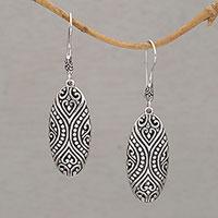 Sterling silver dangle earrings, 'Mother's Love'