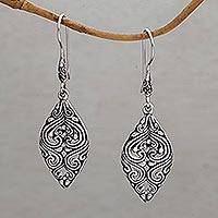 Sterling silver dangle earrings, 'Leaf of Love' - Fair Trade Sterling Silver Dangle Earrings from Bali