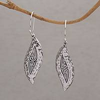 Sterling silver dangle earrings, 'Dewy Blades' - Hammered Sterling Silver Leaf Dangle Earrings from Bali