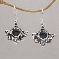 Onyx dangle earrings, 'Falcon's Eye' - Onyx and Sterling Silver Dangle Earrings from Bali