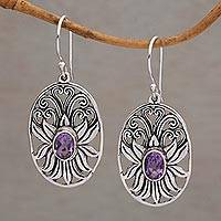 Amethyst dangle earrings, 'Daylight Lotus' - Balinese Amethyst and Sterling Silver Lotus Dangle Earrings
