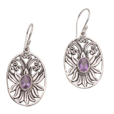 Amethyst dangle earrings, 'Daylight Lotus' - Balinese Amethyst and Sterling Silver Lotus Dangle Earrings