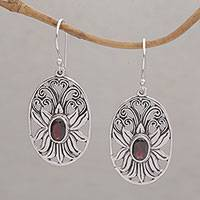 Garnet dangle earrings, 'Daylight Lotus' - Balinese Garnet and Sterling Silver Lotus Dangle Earrings