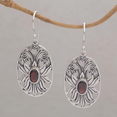 Novica Garnet earrings, Berry Vines - Floral Sterling Silver Garnet Earrings