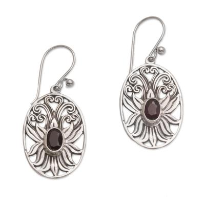 Garnet dangle earrings, 'Daylight Lotus' - Balinese Garnet and Sterling Silver Lotus Dangle Earrings