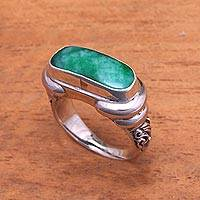 Men's quartz ring, 'Ancient Wisdom'
