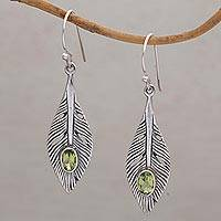 Peridot dangle earrings, 'Glittering Feathers' - Peridot and Silver Feather Dangle Earrings from Bali